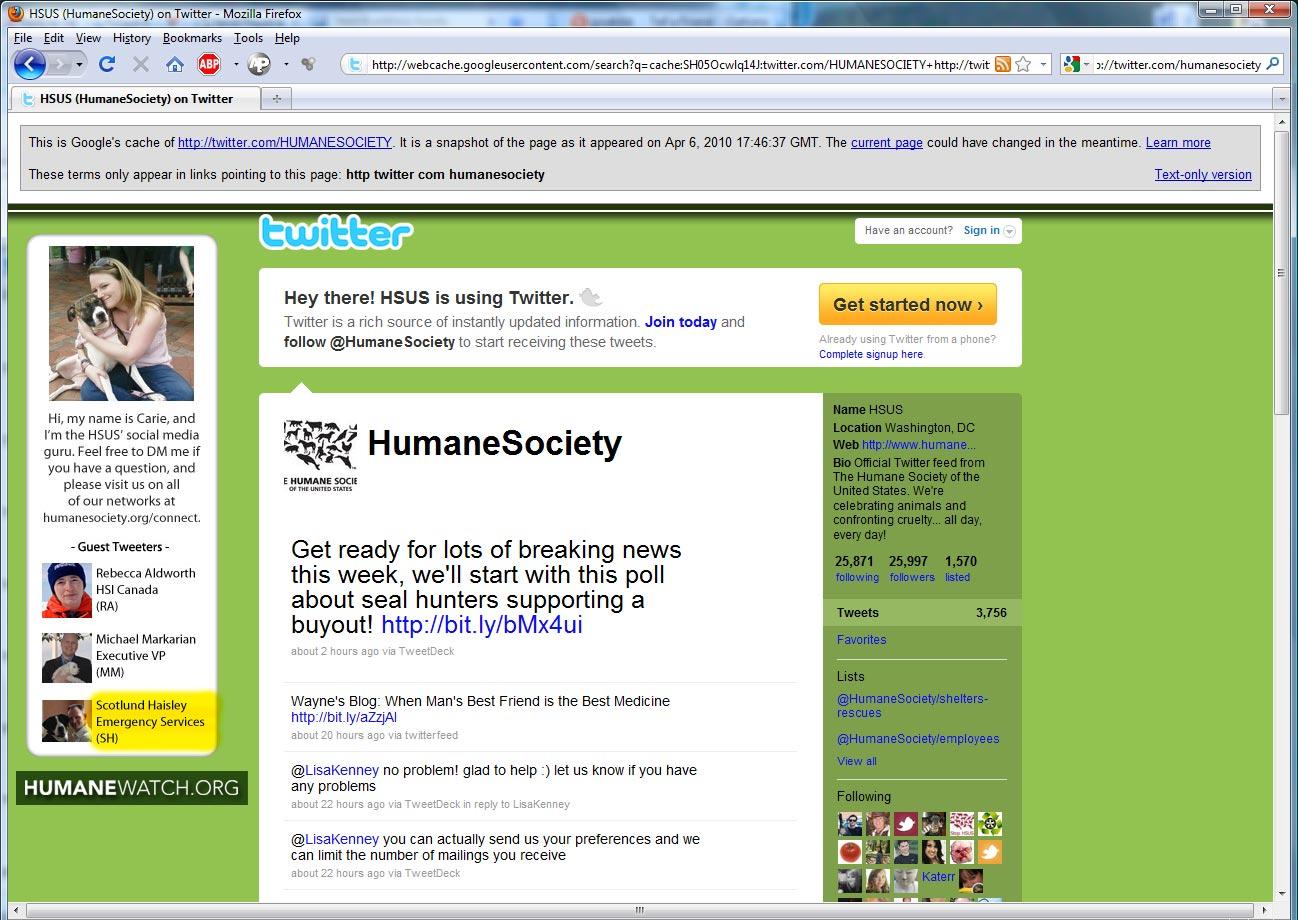 2010 04 06 Google cache HSUS twitter Jamie Lynn Spears   kid sister of Britney Spears.